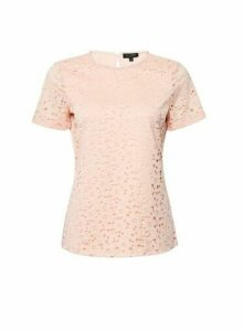 Womens Peach Lace Fitted T-Shirt - Orange, Orange