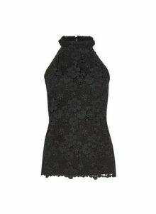 Womens Black Lace Halter Neck Top, Black