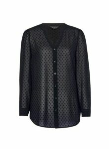 Womens Black Dobby Longline Shirt, Black