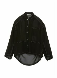 Contrast topstitch sheer georgette blouse