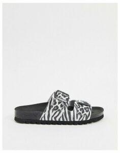 Vero Moda leather animal print buckle sandals-Multi