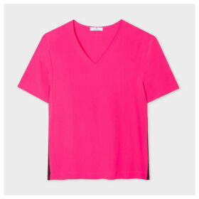Women's Fuchsia V-Neck Silk-Blend T-Shirt