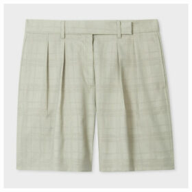 Women's Pistachio Slub Devore Check Tailored Shorts