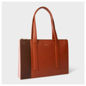 Women's Brown And Pink Leather Zip-Top 'Concertina' Small Tote Bag