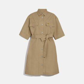 Coach Short Sleeve Safari Shirt Dress