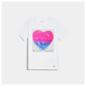Coach X Richard Bernstein Pink And Blue Jello Heart T-shirt