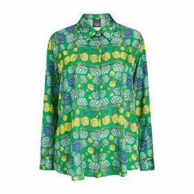 Persona by Marina Rinaldi Banjo Satin Printed Shirt, Green