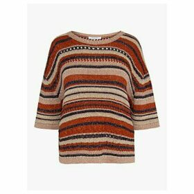 Gerard Darel Eleana Metallic Stripe Jumper, Navy/Multi