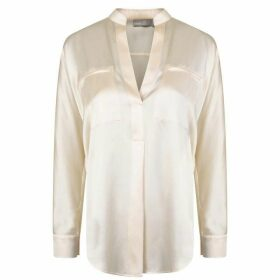 VINCE Collar Band Popover Blouse