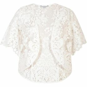 Chesca Scallop Sleeve Embroidered Lace Shrug