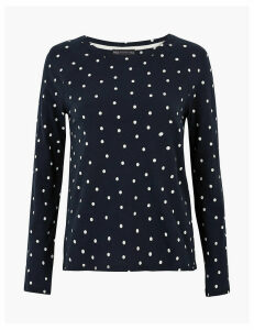 M&S Collection Pure Cotton Polka Dot Long Sleeve Top