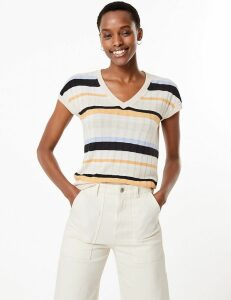 M&S Collection Striped V-Neck Top with Linen