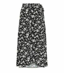 Black Monochrome Floral Wrap Midi Skirt New Look