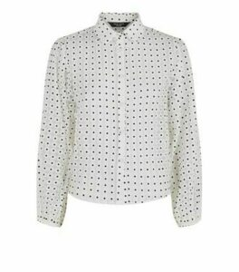 Petite White Daisy Organza Shirt New Look