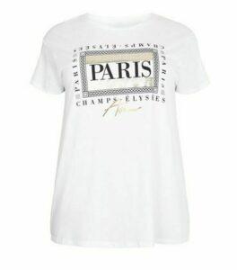 Curves White Paris Metallic Box Slogan T-Shirt New Look