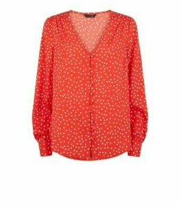 Red Spot Button Front Blouse New Look