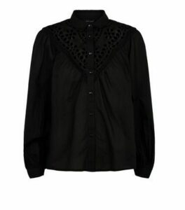 Black Broderie Long Puff Sleeve Shirt New Look