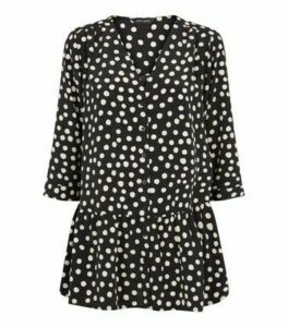Black Contrast Spot Long Peplum Blouse New Look