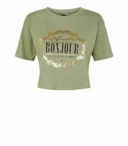 Khaki Bonjour Metallic Slogan Crop Boxy T-Shirt New Look