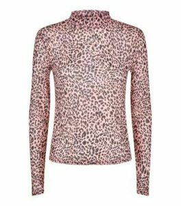Pink Leopard High Neck Mesh Top New Look