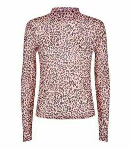 Pink Leopard High Neck Mesh Top New Look