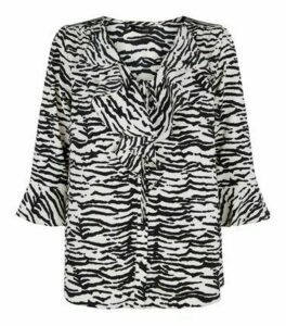 White Zebra Tie Front Frill Blouse New Look