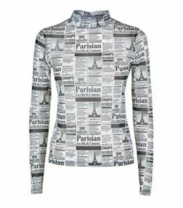 Black Newspaper Print Mesh Top New Look