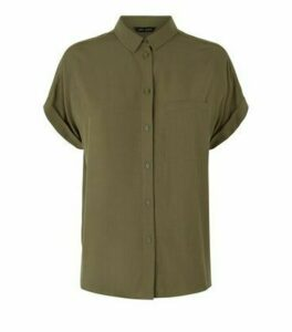 Khaki Pocket Front Short Sleeve Shirt New Look