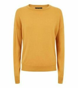 Mustard Crew Neck Ribbed Trim Jumper New Look