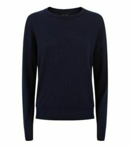 Navy Crew Neck Ribbed Trim Jumper New Look