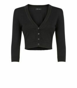 Black Fine Knit Button Crop Cardigan New Look