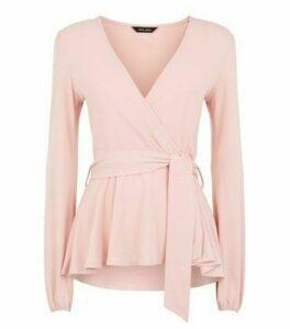 Mid Pink Long Sleeve Tie Peplum Wrap Top New Look