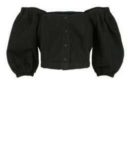 Black Denim Puff Sleeve Top New Look
