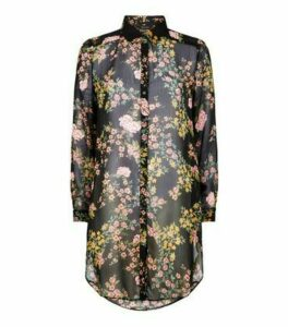 Black Floral Chiffon Long Shirt New Look