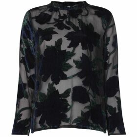 Another Label Burn Out Velvet Flower Top - Black