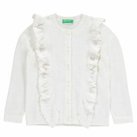 Benetton Knitwear Cardigan with Ruffle - Off White