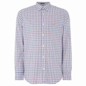 Gant Broadcloth Poplin Small Windowpane Shirt - Light Blue