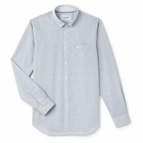 Lacoste Men`S Regular Fit Texturized Poplin Shirt - Lacoste blue/white