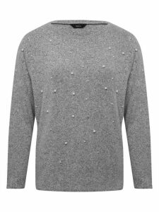 Women's Ladies grey long sleeve pearl embellished jumper