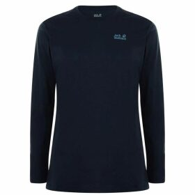 Jack Wolfskin Jack Corp Logo Long Sleeved T Shirt - Night Blue