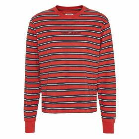 Tommy Jeans Multi Stripe Long Sleeve T Shirt - CRIMSON RED