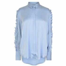 GESTUZ Opie Ruffle Shirt - Kentucky Blue