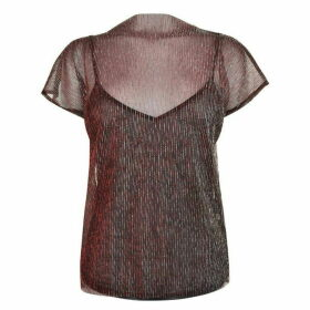 GESTUZ Gunny Sheer Top - Red Metallic