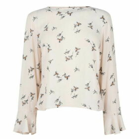 Jack Wills Rosamunde High Neck Floral Top - Vintage White