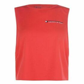 Tommy Sport Crop Logo Tank Top - Hibiscus