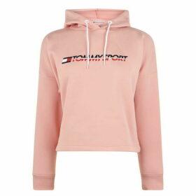 Tommy Sport Crop Logo Hoodie - Dusty Pink