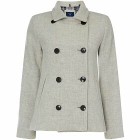Gant Button Up Wool Pea Coat - Grey