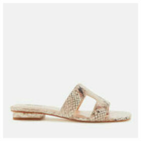 Dune Women's Loupe Leather Mule Sandals - Natural Reptile - UK 8