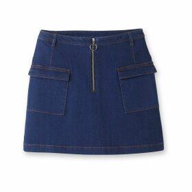 Denim Skirt with Zip Front