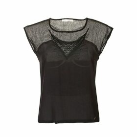 Short-Sleeved Blouse with Openwork Insets